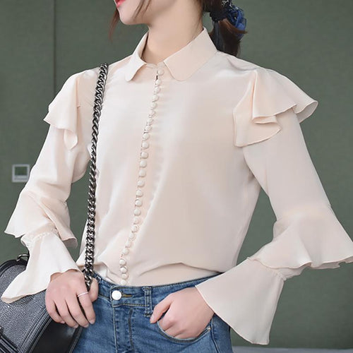 Fashion Pure Colour Silk Ruffled Long Sleeve Shirt