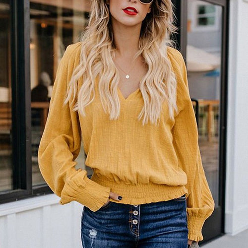 Casual Sexy V Collar Long Sleeved Wrinkled   T-Shirt Blouse