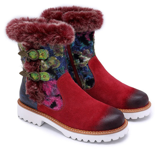 Rabbit Fur Leather Casual Super Comfortable Retro Soft Flat Snow Boots