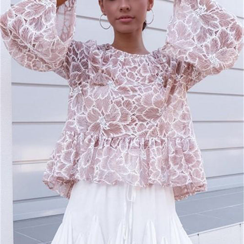 Casual Fashion Sweet Lace Blouses Flared Sleeves Loose Baby Blouses T-Shirt