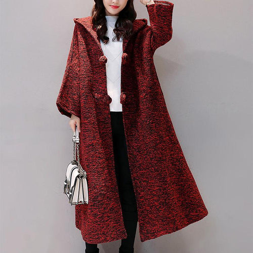 Fashion Hooded Cardigan Jacket Halflong Sleeve Coat