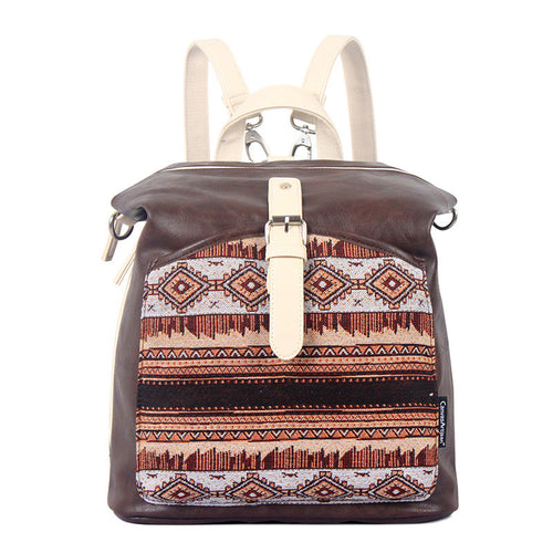 Women Ethnic style Pattern printing  Canvas stitching PU Backpack