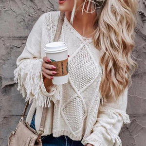 Fashion Pure Colour Tassel V Neck Knitwear