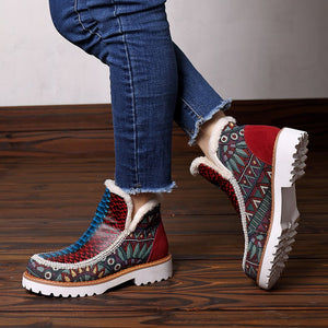 Leather Stitching Wool Hand-Colored Casual Women's Boots