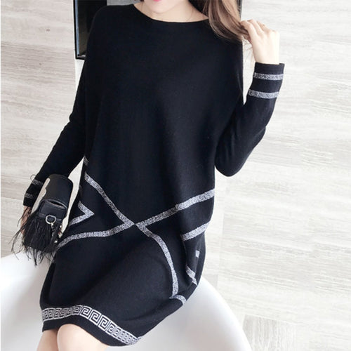 Fashion Long Sleeve Loose Shift Dress
