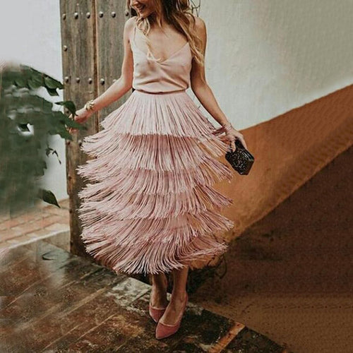 Sexy Fashion Tassel Overskirt Maxi Dress