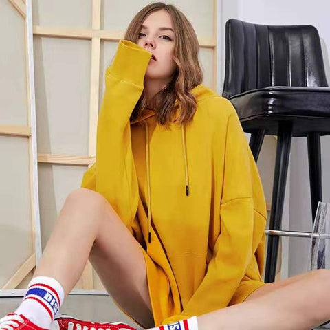 Women's Loose Pure Color Hooded Long Sleeve Sweatshirt