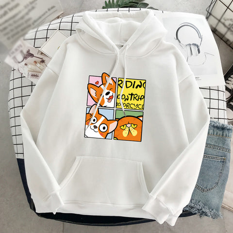 Casual cartoon printed loose long sleeves hoodie