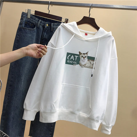 Cat Printed Loose Hooded Casual Sweater