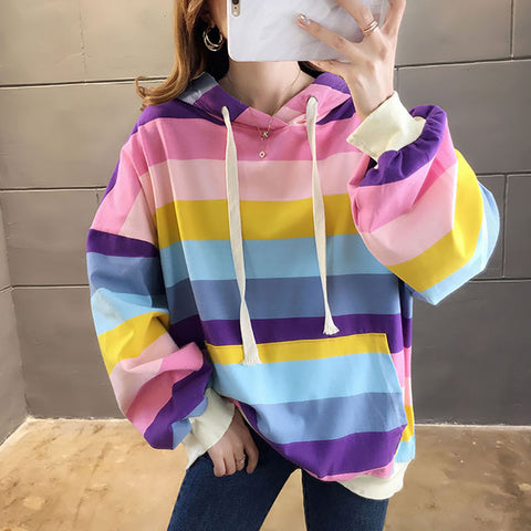 Women's Loose Striped Hoodie Sweatshirt