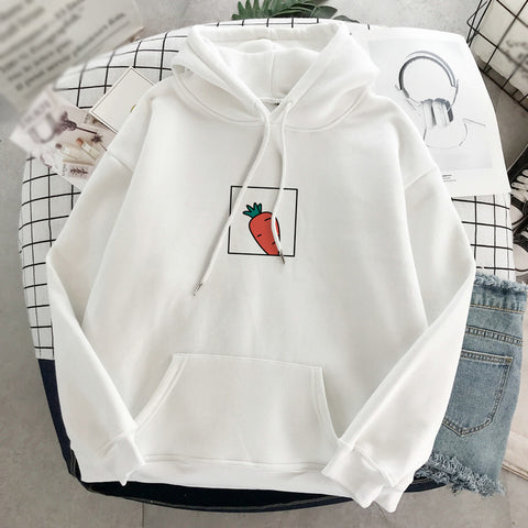 Casual carrot printed loose kangaroo pocket hoodie