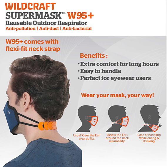 SUPERMASK W95 Plus Reusable Outdoor Respirator - GRINDLE GREY - Pack Of 1