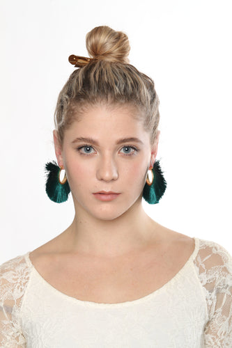 Astra Hoop Tassel Earrings