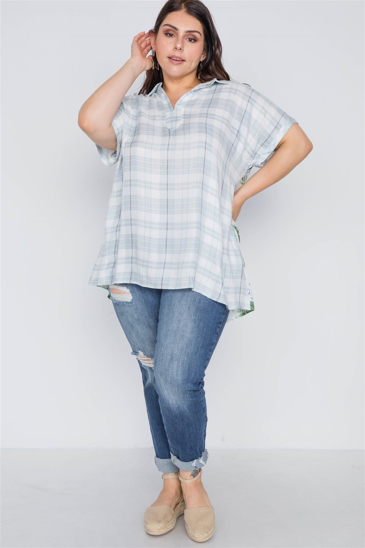 Plus Size Denim Grey Combo Plaid Floral Sort Sleeve Top