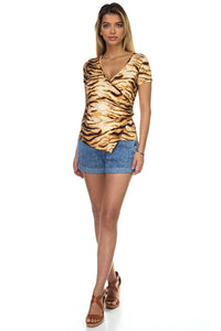Animal Print Front Wrap Shirt