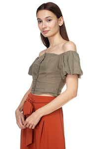 Button Down Puff Sleeve Crop Top