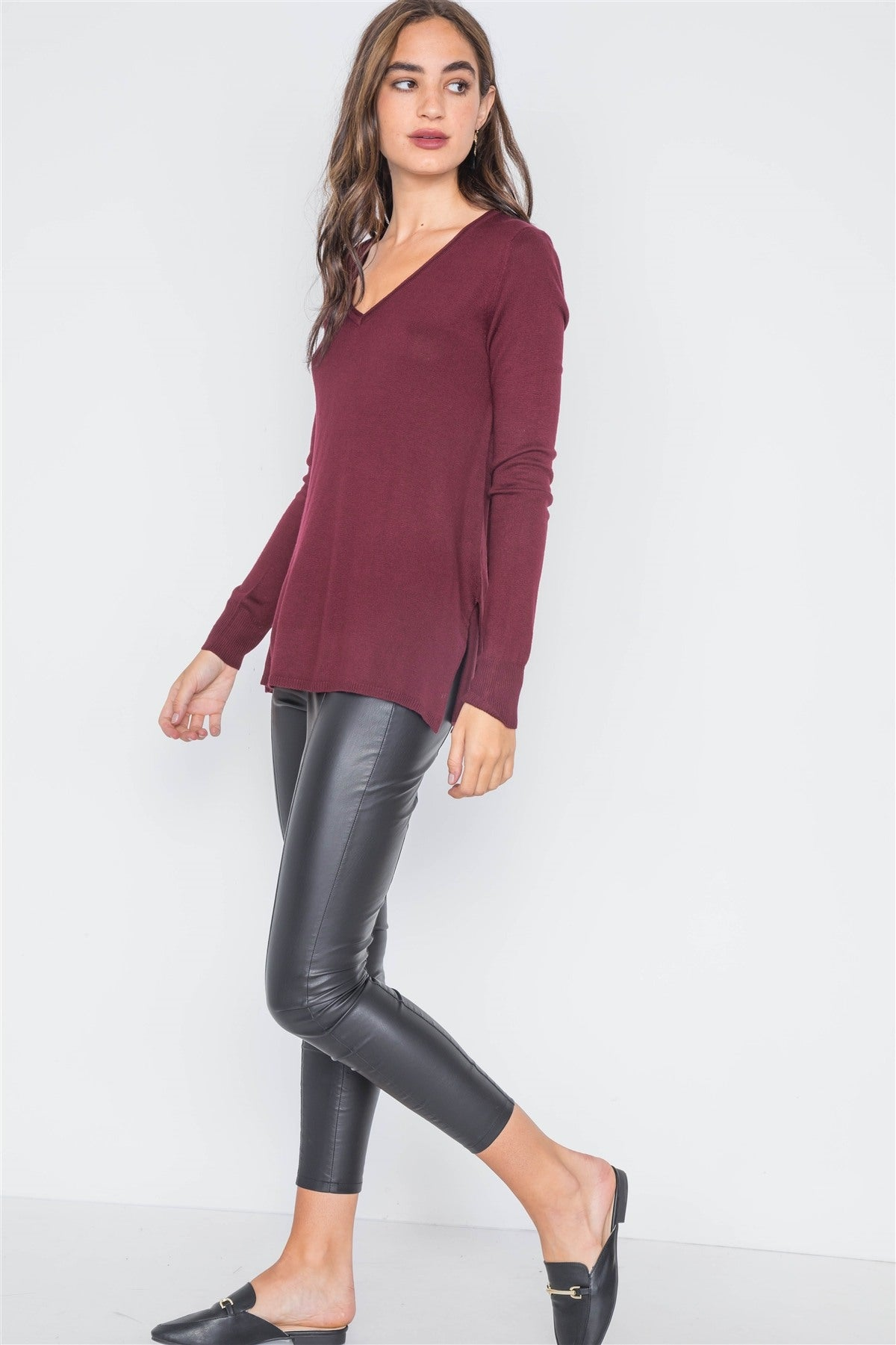 Burgundy Knit Casual V-neck Solid Sweater