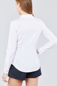 3/4 Roll Up Sleeve Front Two Pocket W/button Detail Stretch Shirt