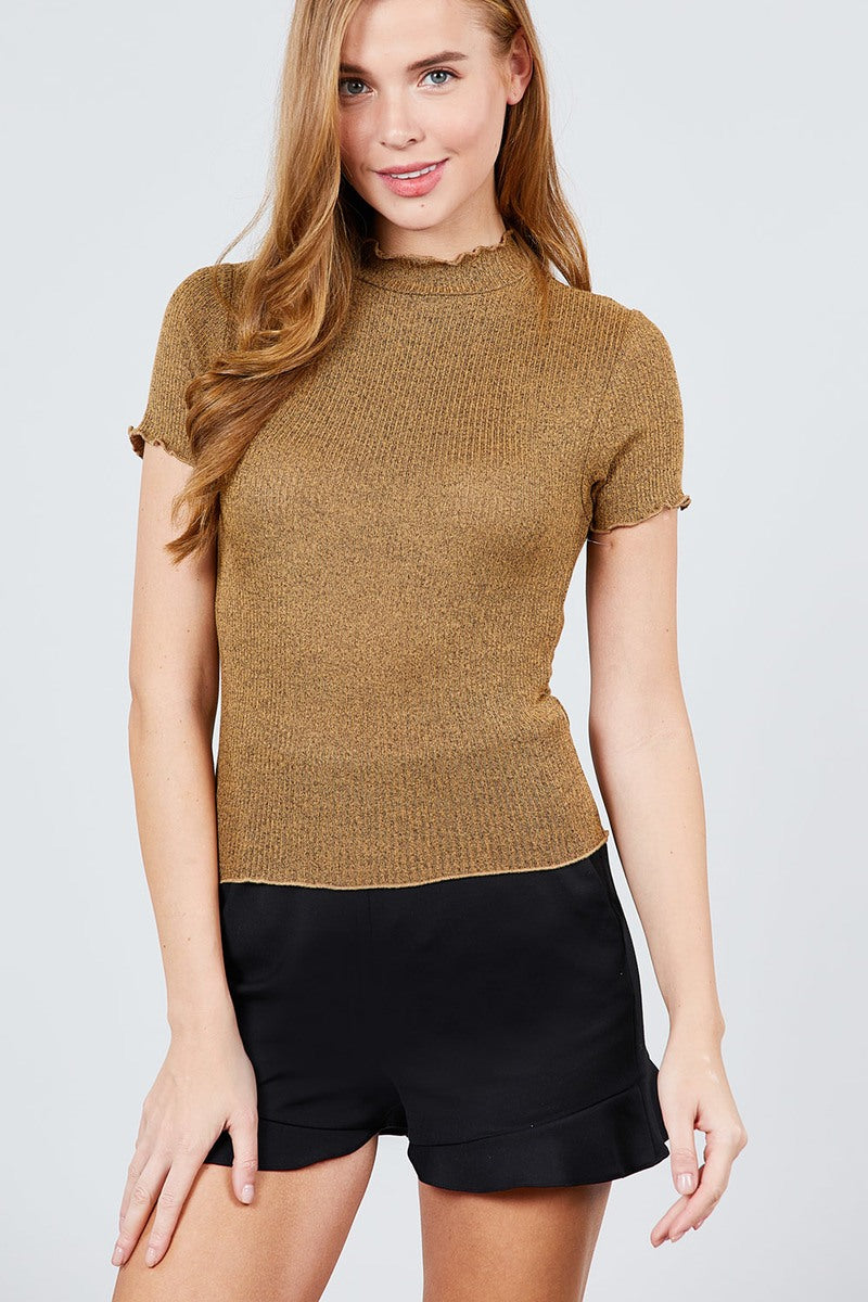 Short Sleeve Mock Neck W/lettuce Hem Hacci Rib Knit Top