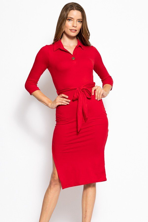 Solid, Midi Tee Dress With 3/4 Sleeves, Collared V Neckline, Decorative Button, Matching Belt And A Side Slit