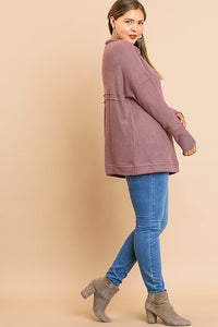 Waffle Knit Long Sleeve High Folded Neck Top