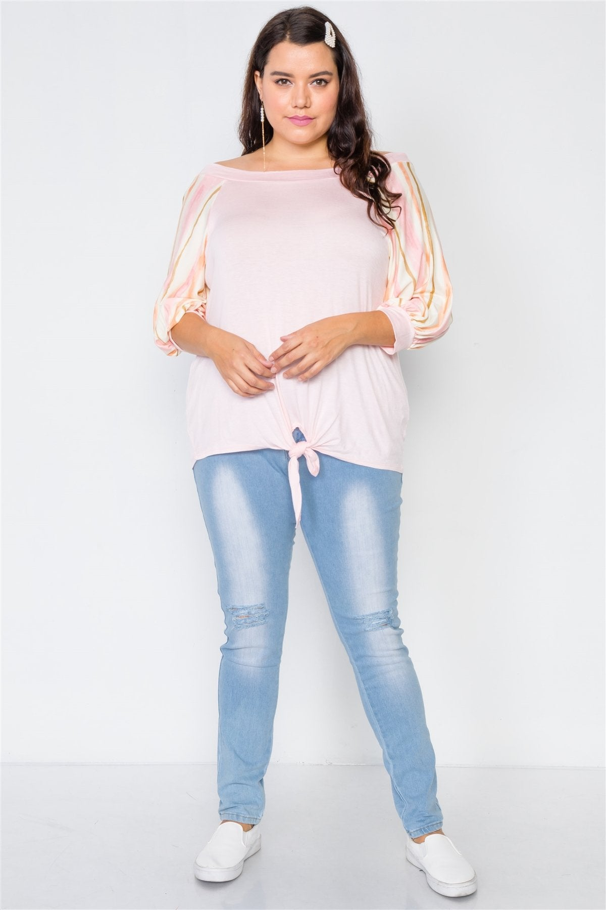 Plus Size Pink Scoop-neck 3/4 Sleeve Top