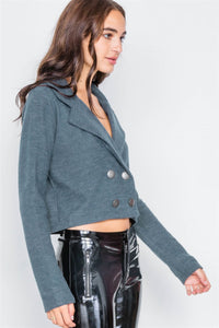 Double Breasted Peacoat Crop Jacket