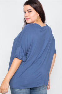 Plus Size Batwing Short Sleeve Drop-shoulder Top