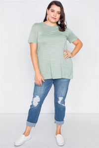 Plus Size Cut Out Back Bow Short Sleeve Top