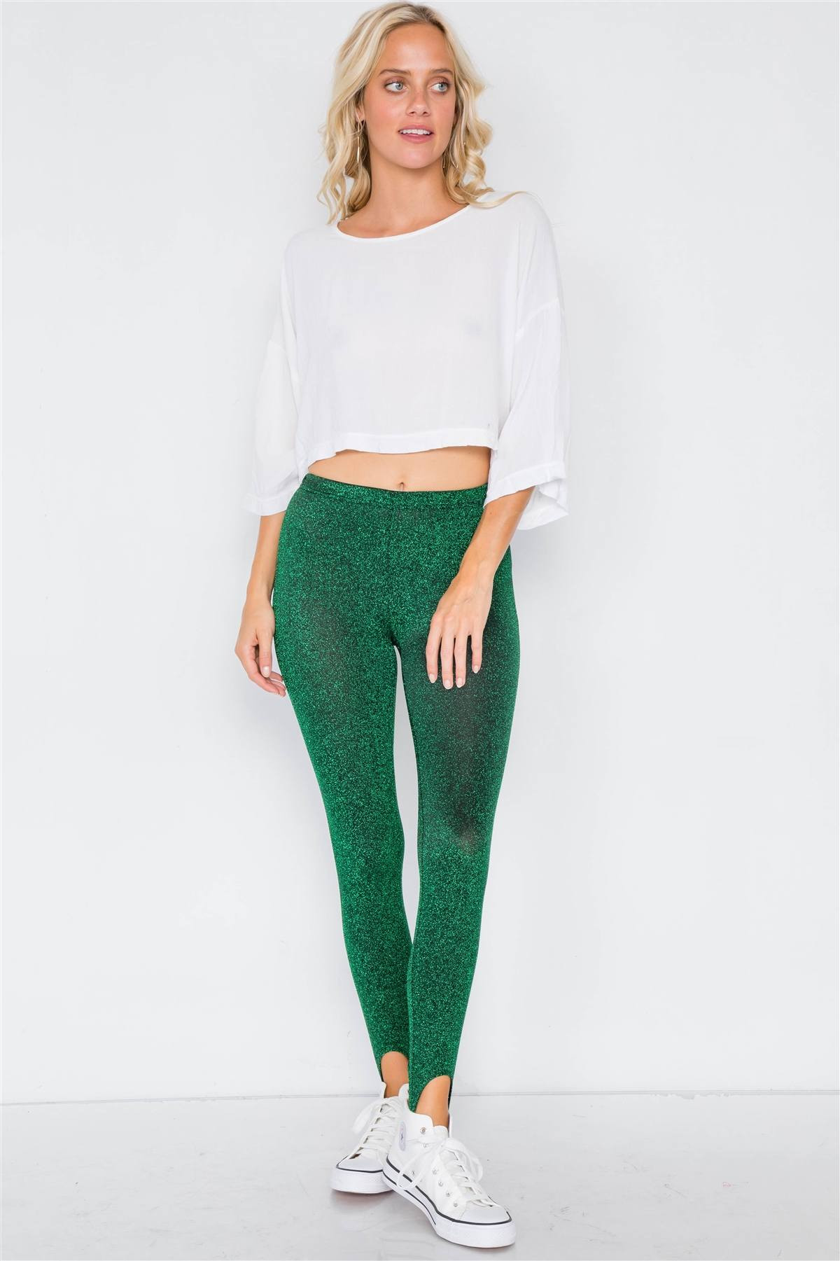 Green Glitter Stirrup Festive Leggings