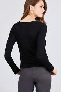 Long Sleeve V-neck Cross Wrap W/button Detail Rib Knit Top