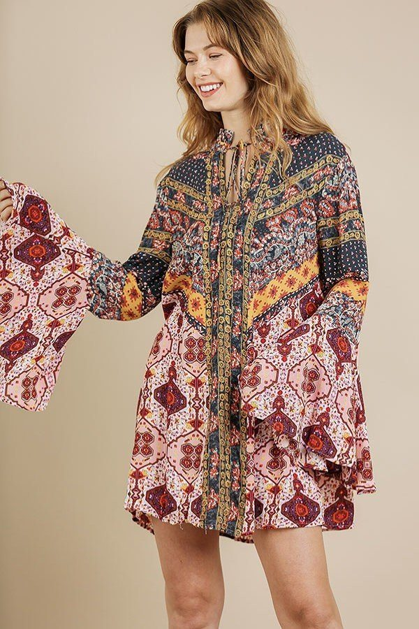 Multi-print Trumpet Sleeve Dress With A Drawstring Split Neck