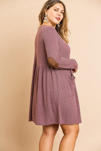 Waffle Knit Long Sleeve Round Neck Faux Button Front Babydoll Dress