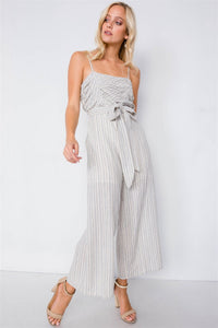 Spaghetti Strap Striped Jumpsuit