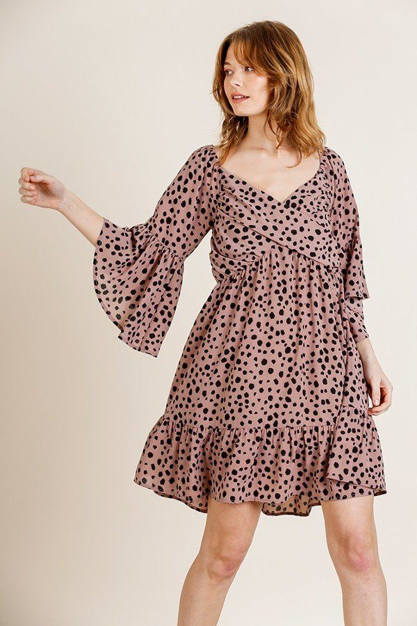 Dalmatian Print Ruffle Bell Sleeve Sweetheart Neckline Dress