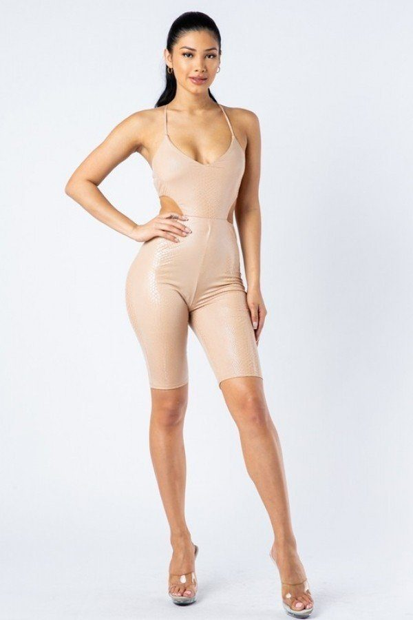 Spaghetti Strap Cut Out Detailed Biker Short Romper