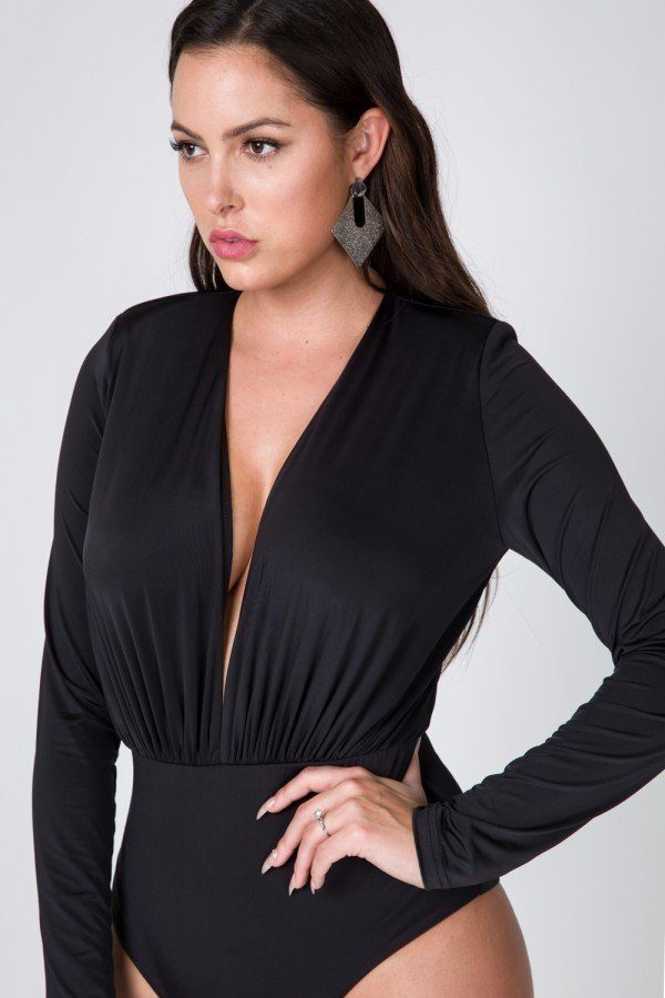 Power Shoulder Deep V Long Sleeve Bodysuit