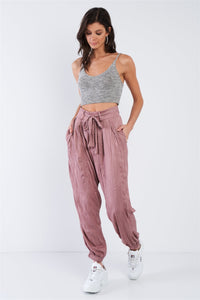 Crushed Satin Cinched Ankle Cuff Self Tie Waist Sash Pants