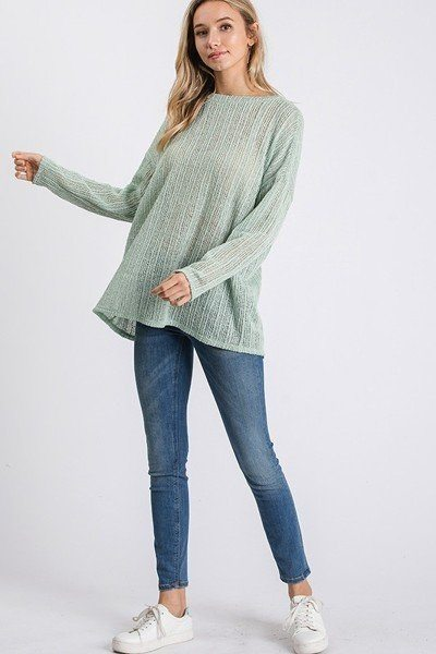Open Back Detail Long Sleeve Top With Self Tie