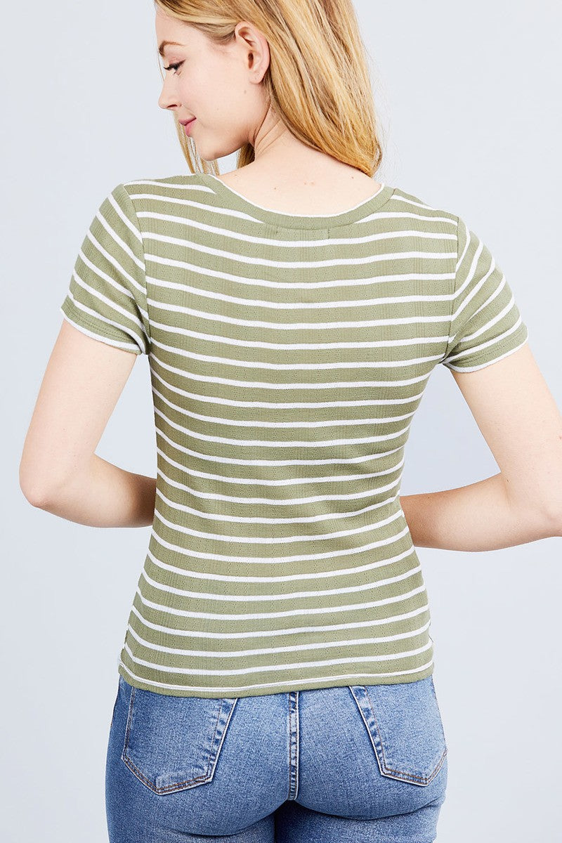 Short Sleeve Crew Neck Stripe Pointelle Knit Top