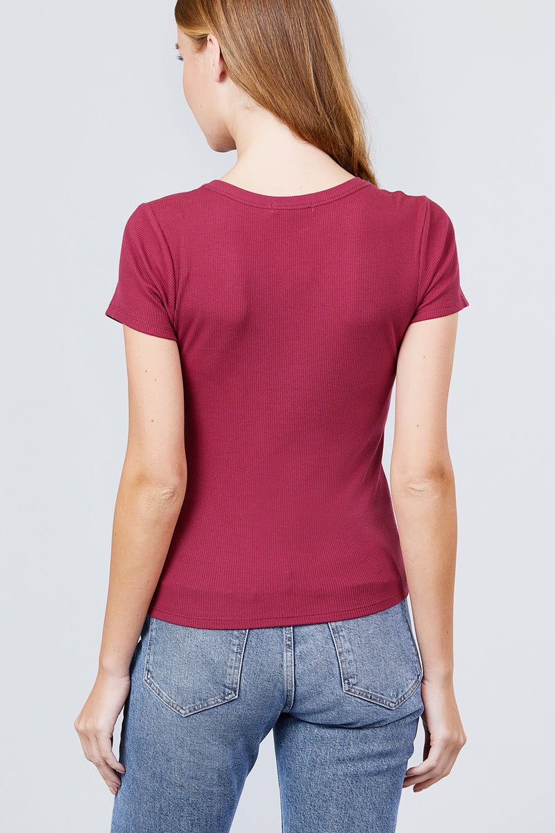 Short Sleeve V-neck W/button Detail Rib Knit Top