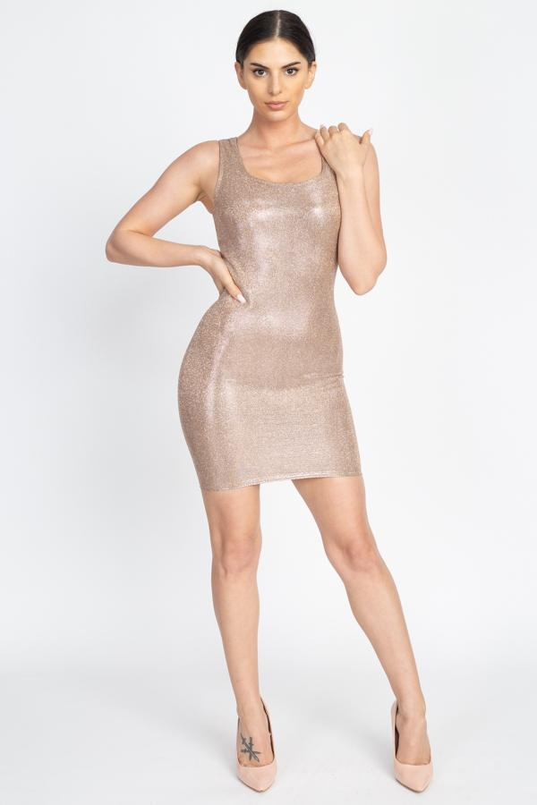 Metallic Glitter Mini Dress