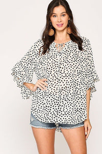 Leopard Printed Crepe Top