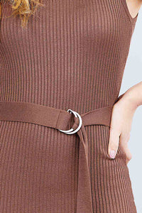 Sleeveless Double Scoop Neck W/belt Rib Sweater Mini Dress
