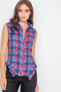 Navy & Red Plaid Stripe Raw Distressed Hem Flannel