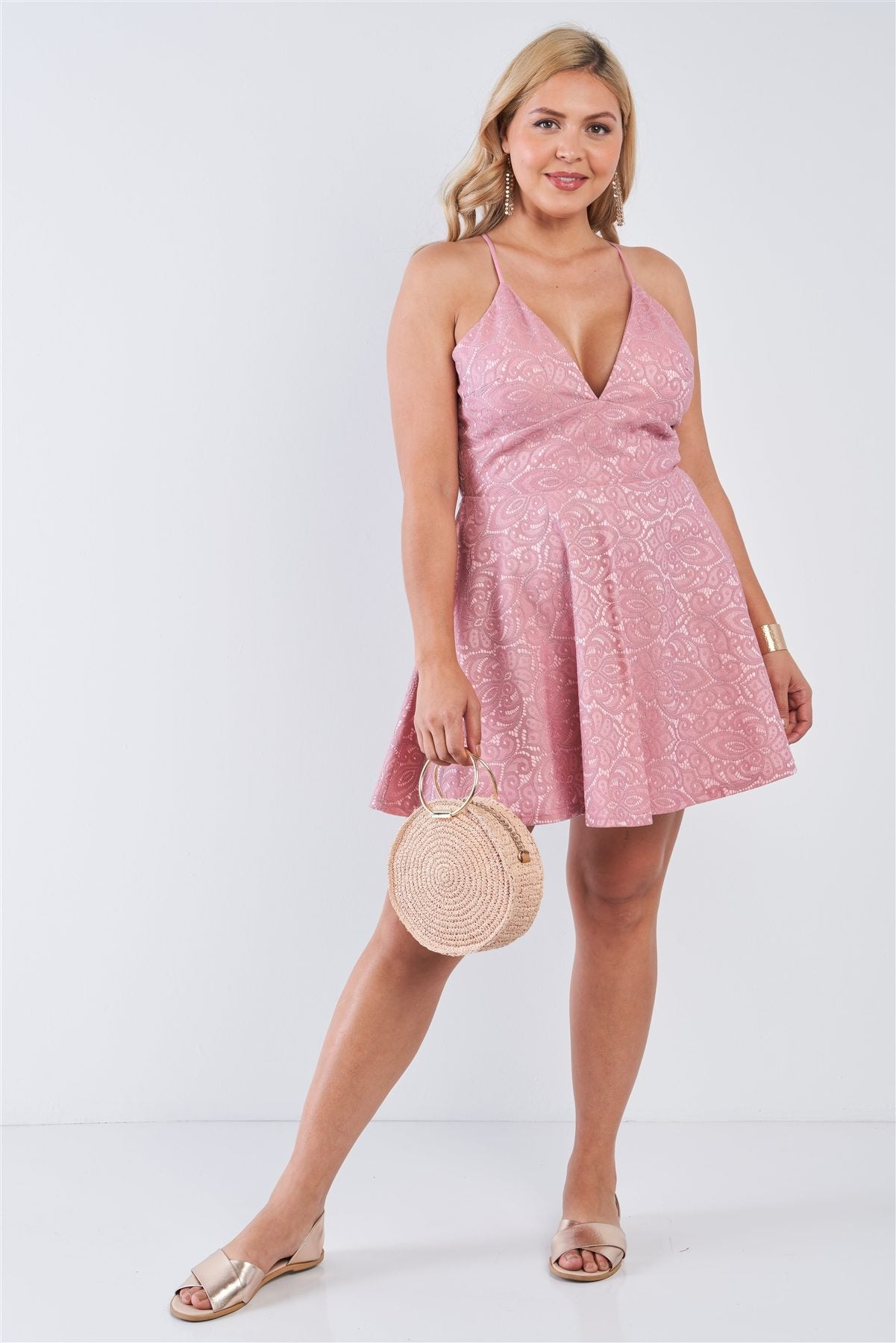 Plus Size V-neck Floral Lace Raceback Flare Skirt Mini Dress