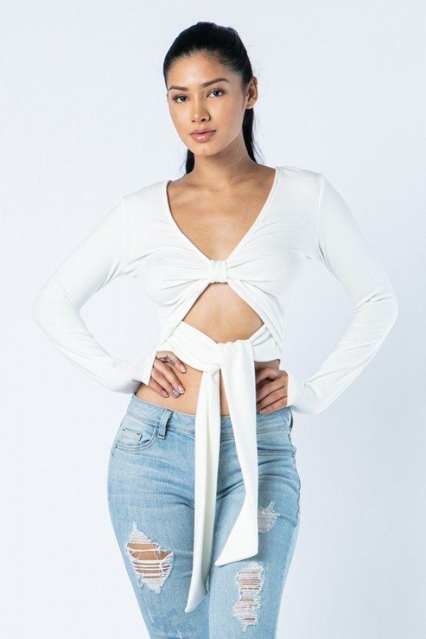 Soft Heavy Knit Front Ribbon Side Band Tie Long Sleeve Crop Top