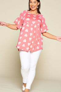 Plus Size Cute Adorable Heart Jersey Babydoll Tunic Top