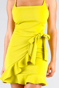 Spaghetti Strap Square Neck Ruffled Wrap Dress