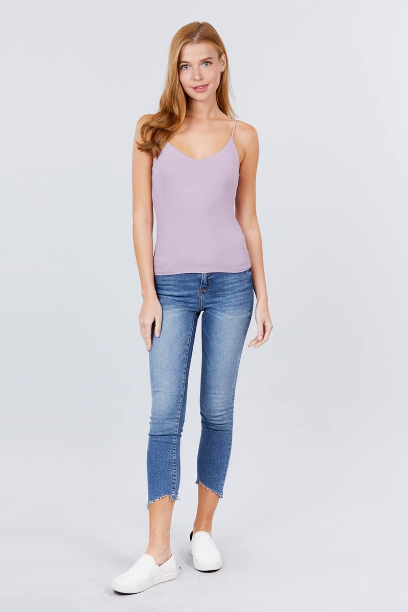 Double V-neck 2 Ply Rib Knit Cami Top